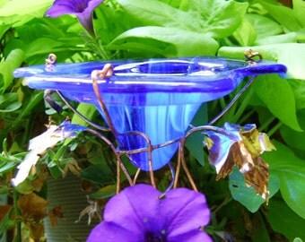 Bird and Butterfly FEEDER, Suncatcher, stained glass, copper, Cobalt BLUE, outdoor, Garden Decor