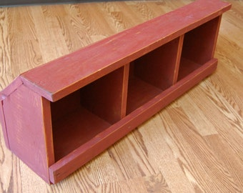 Handmade Three Cubby Wood Bin -Freestanding Cubby/ Barn Red Country Storage/Display Bin