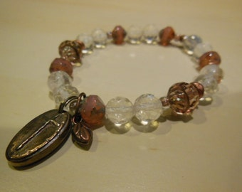 Pineapple quartz and crystal bracelet with handmade copper charm
