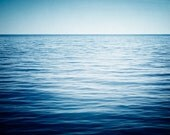 "Ocean Photography - water dark blue sea photo seascape horizon minimal nautical coastal wall print, beach bathroom decor, ""Into the Deep"""