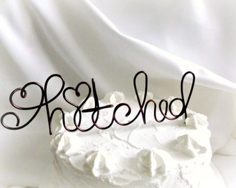 Cake Topper Country Weddings, Rustic Caketoppers, Hitched, 6 inch