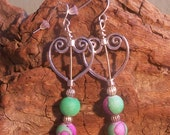 Silver and Pink frosted glass dangle earrings with silver hearts - MarquisCreations
