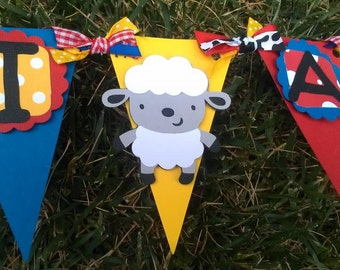 Farm Animals, I Am One Highchair Banner in Primary Colors