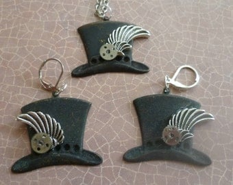 Hats Off to You Steampunk Necklace and Earrings Set