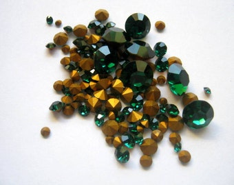 Clearance Vintage Emerald Rhinestones Various Sizes