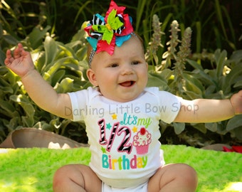 Baby Girl Half Birthday Bodysuit and bow headband SET- It's my 1/2 Birthday - hot pink, turquoise, lime green, yellow and zebra w/ cupcake