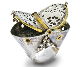 Rivets and Lace inspired Silver ring, with brass rivets and hinged lid-to burn sage or incense. Ritual Object/Functional Jewelry