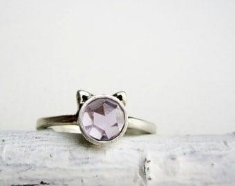 Purple Cat Ring, Amethyst and Sterling Silver, Light Purple Amethyst