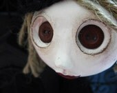 Cloth Art Doll - Bottom Eyed Doll - Owl Doll - Jointed Art Doll