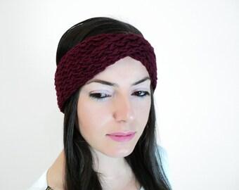 Winter Sale - Red Knitting Winter Headband - Dark Red Knitting Earwarmer - Dark Red Knitting Twisted Headband, ready to ship