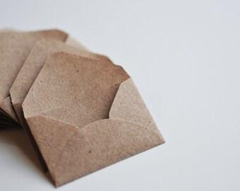"""Tiny envelopes, mini envelopes, kraft paper, 1"""" x 1.5"""""""