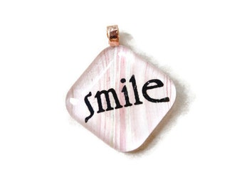 Go Green with my 1 inch square tile inspirational words smile pink handmade marbled paper glass pendant eco friendly