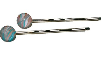 Pair of glass circles 1/2 inch circle pink blue marbled handmade japanese paper background bobby pins barrettes