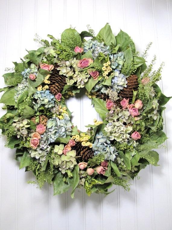 Dried flower wreath flowers hydrangea