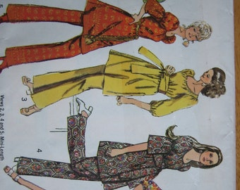 Simplicity Pattern 8824 Misses' Dress in Two Lengths with Sash and Pants   1970   Uncut