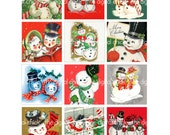 Digital Clipart, instant download, Vintage Christmas Cards--snowman, snowmen, snow people, couples--8.5 by 11--Digital Collage Sheet 1345