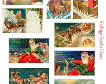 Digital Christmas Clipart, instant download, Vintage Santa Claus Reindeer and Sleigh  Images, chimney--8.5 by 11--Digital Collage Sheet  576