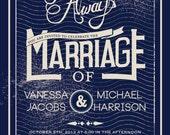 Vintage Wedding Invitation Distressed Aged LOVED