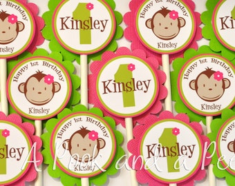 Lime Green and Pink Girl Monkey Birthday or  Shower Personalize Cupcake Toppers Picks