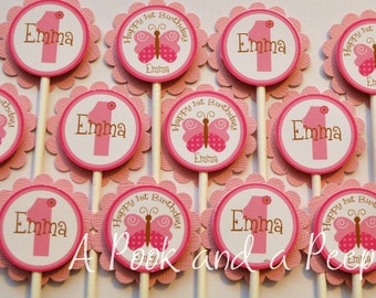 Pink Butterfly Cupcake Toppers Personalized Cupcake Picks for Birthday Parties and Baby Shower Set of 12