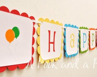 Happy Birthday Balloon Banner Red Blue Yellow Orange Green