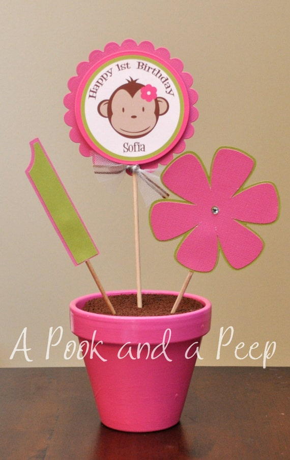 Personalized Pink and Green Monkey Table Top Centerpiece Birthday Shower Decoration