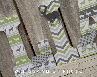 Custom Nursery Wooden Letters, Baby Boy or Baby Girl Nursery - Deer/Elk Theme Custom Letters (deer, elk, forest animals) 9 inch size