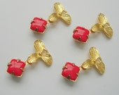 4pcs - Vintage Opaque Red Glass  in Brass Prong Settings and Golg Plated Orchid Flower.