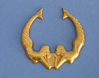 Diving Mermaid Raw Brass Dapped Hollow Back Pendant Charm.