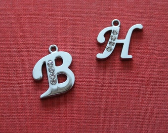 75% OFF 6 Rhinestone Initial Charm alphabet letter Monogram Pendant  for wedding bouquets - Antique Silver for necklaces, bracelets