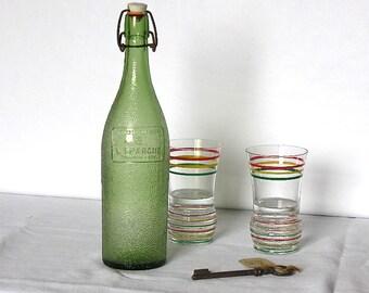 1960 French Antique Lemonade Bottles  - Picnic - French Vintage Bottle - Carbonated Water