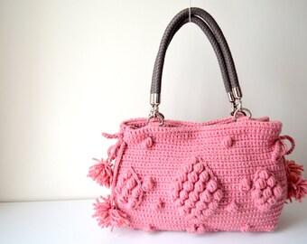 Pink / Rose Crocheted Handbag Celebrity Style,Crochet winter  bag- shoulder bag- crochet bag-