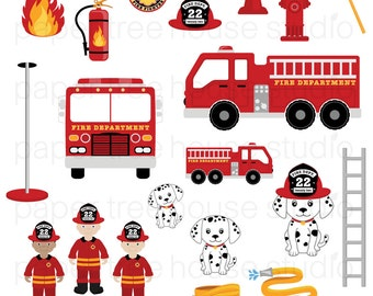 Clip Art Set - Fire Station, Truck and Rescue Pup - Junior Fire Fighters - 20 Print Ready Files - JPG and PNG Format - ID 225