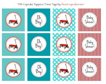 Little Red Wagon Baby Shower Cupcake Toppers / Party Circles / Favor Tags - INSTANT DOWNLOAD