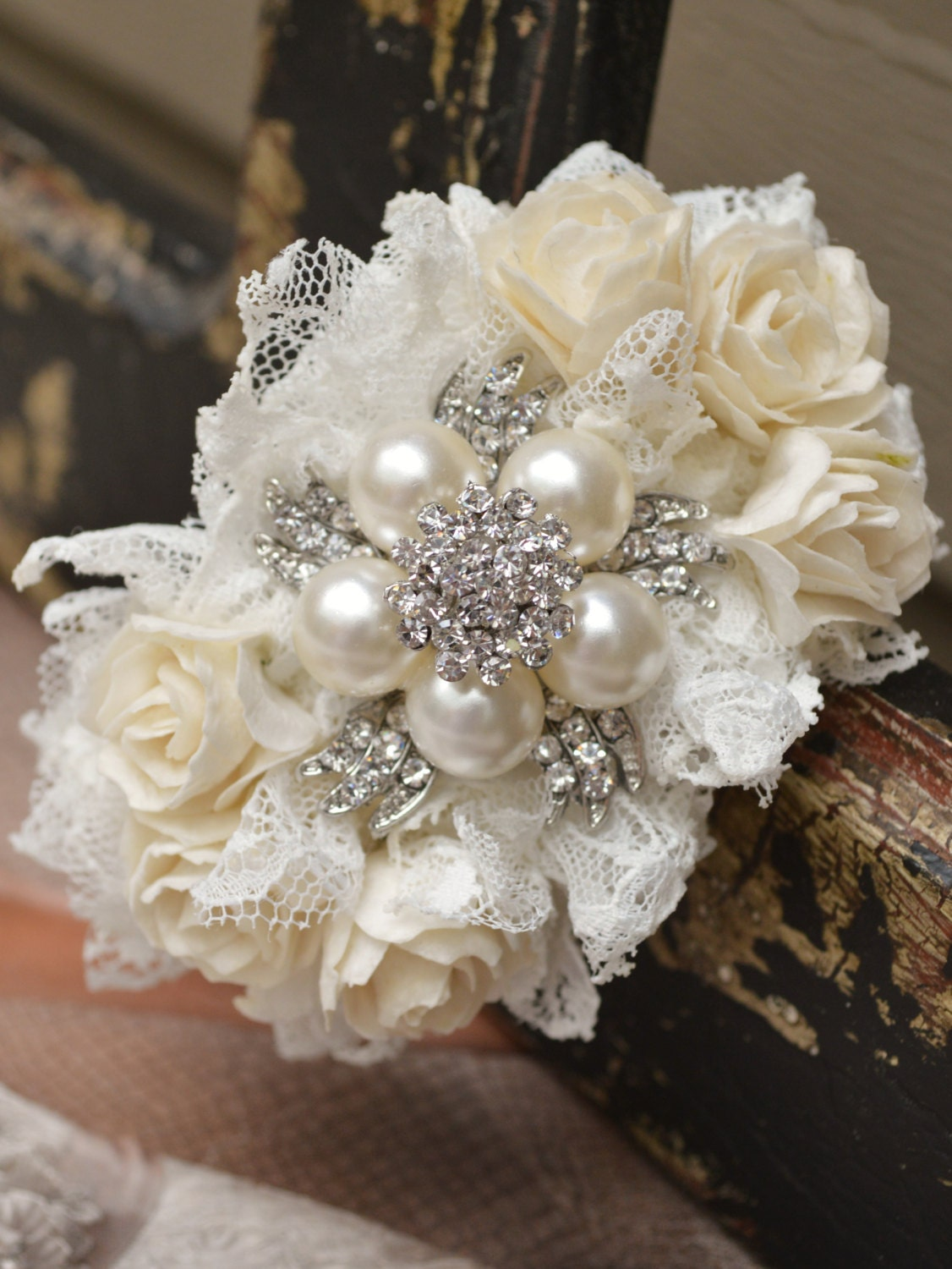 Wrist Corsage: Brooch Wrist Corsage Ivory And White