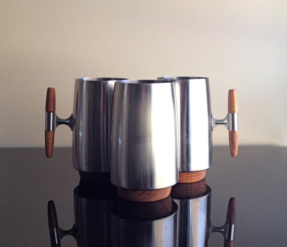 Mid Century - AS Arthur Salm Sweden Stainless Steel and Teak Mugs (set of 3)