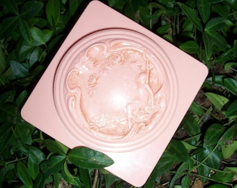 Powder Box Pink Art Deco Motif Vanity Accessory