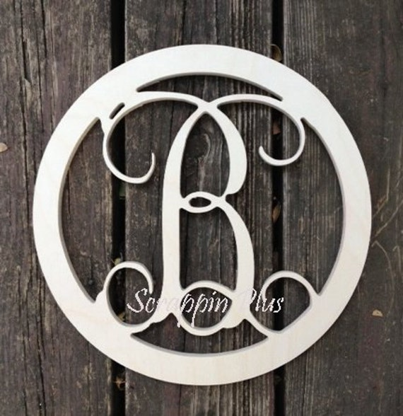 26 inch Vine letter 2 inch BORDER Vine connected wooden letters - round