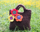 Little Girl Little Purse in brown with three little flowers