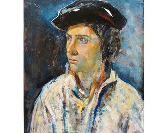 Figure painting oil on canvas Cross 16 x 20 inches oil on canvas portrait painting
