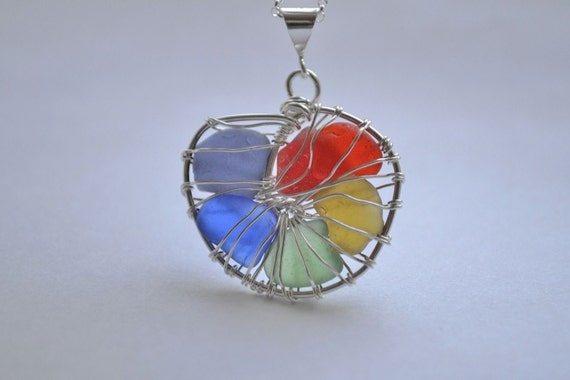 Sale- Rainbow Genuine Sea Glass Hand Knitted Fine Silver Wire Nautilus Pendant