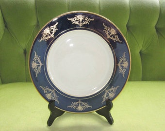 Vintage White Plate with Cobalt Blue and Gold Edge