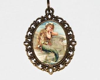 Mermaid Necklace, Mermaid Pendant, Mermaid Jewelry, Beach, Sea, Ocean, Oval Pendant