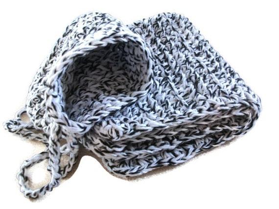 Black Cotton Laundry Bag: Cotton Face Cloth & Soap Holder/Saver Bag Black And White