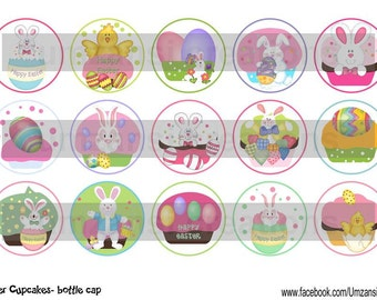 "15 Happy Easter Cupcakes Digital Download for 1"" Bottle Caps (4x6)"