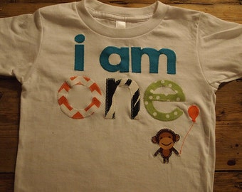 i am 1 one Birthday shirt monkey detail Customize colors Boys Girls Organic Blend Birthday Tee first birthday shirt