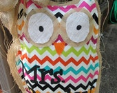 Owl Burlap Door Hanger Bright Chevron Mixed Media Chevron Pattern Personalized