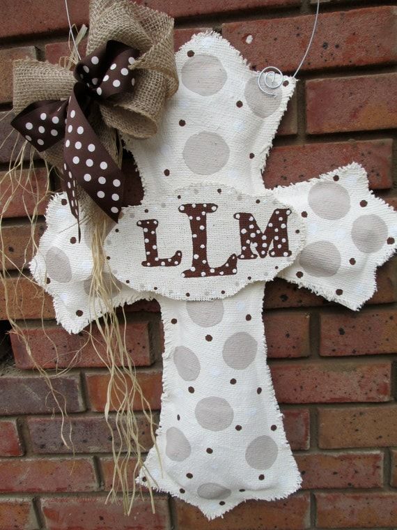 Items Similar To Cross With Baby Burlap Door Hanger Gender Neutral Velcro Initial Plate On Etsy