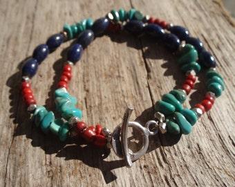 Double turquoise, lapis & silver bracelet