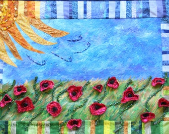 Art Quilt Fiber Art Acrylic Painting with Fabric Flowers Beading, Red Poppy Artwork, Home Decor Wall Hanging. Whimsical Art, Colorful Home
